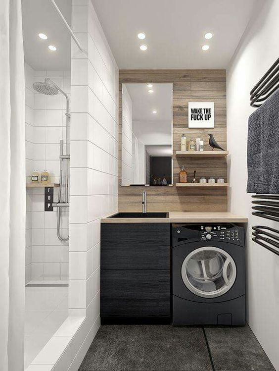 Come nascondere la lavatrice in bagno architempore - Scarico lavandino bagno ...