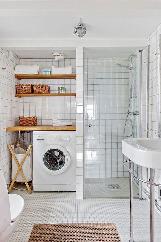 Bagno Piccolo Con Doccia E Lavatrice.Come Nascondere La Lavatrice In Bagno Architempore