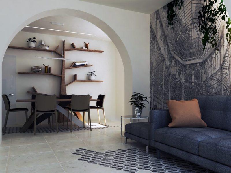 La zona giorno moderna progettata da Violetta Breda di Architempore