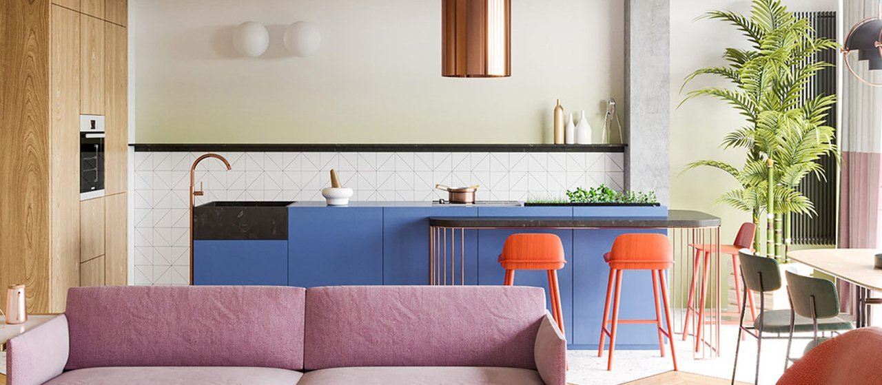 Cucine colorate e di design con grande personalità