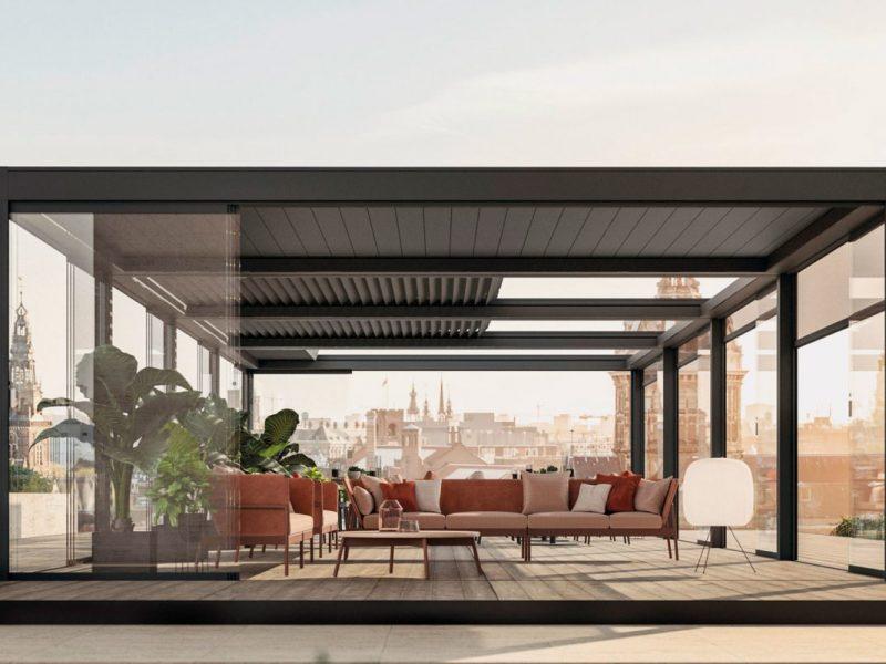 Pergola ombreggiante giusta per il proprio spazio outdoor su un terrazzo