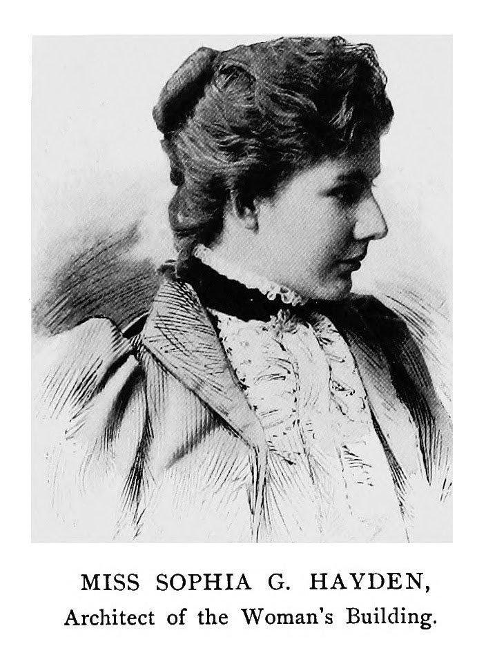 Ritratto di Sophia Hayden Bennett, la prima architetta americana e progettista del Padiglione Femminile a Chicago nel 1893